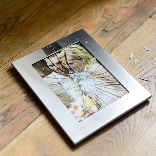 Broken Photo Frame With Shattered Glass