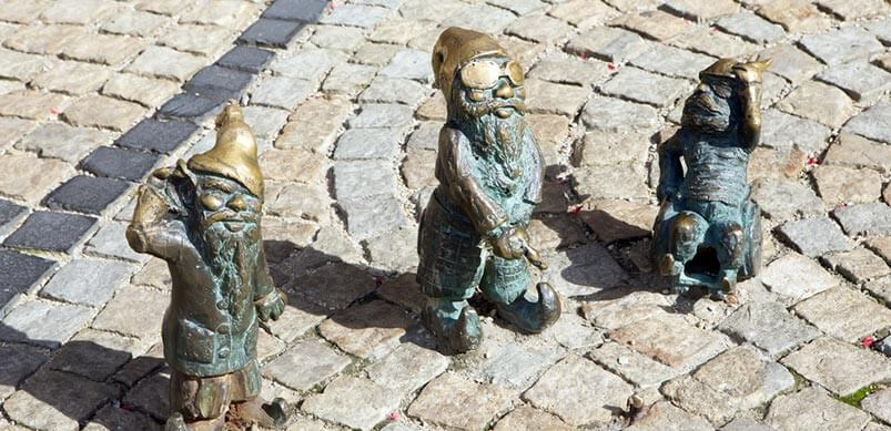 Garden Gnomes on Paving