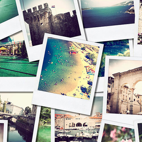 Polaroid Photos In Pile