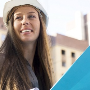 Woman In Hard Hat With Files