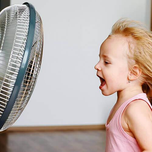 Girl and Fan