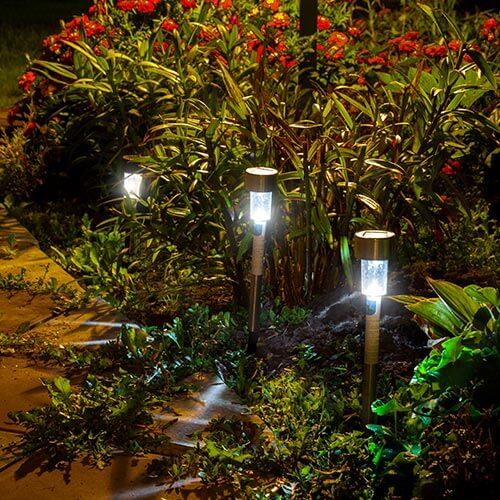 Solar Powered Lighting In Garden