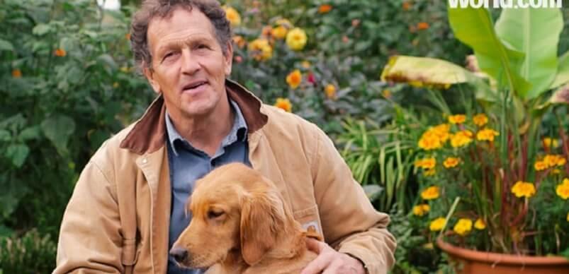 Monty Don In Garden With Dog