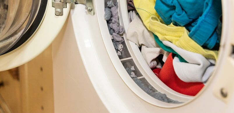 Open Tumble Dryer With Laundry